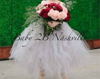 Wedding Skirt Bridal Tutu Silver Skirt Grey Tutu Skirt Women's Long Skirt Bridal Tutu Wedding Separates Tulle Skirt with rose trim waist