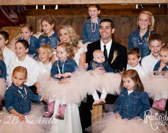 Pink and Ivory Flower Girl Tutu Portrait Length All Sizes up to Girls 8 Slim