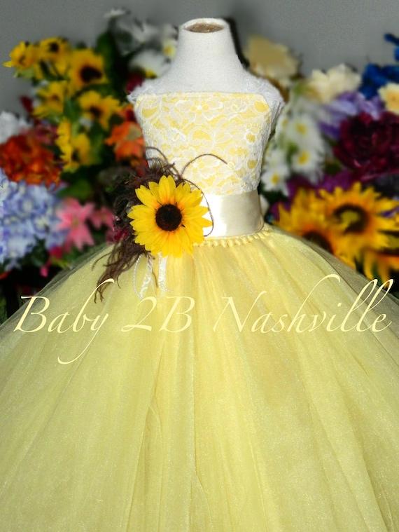 Sunflower dress maize yellow dress flower girl dress lace etsy image 0 mightylinksfo