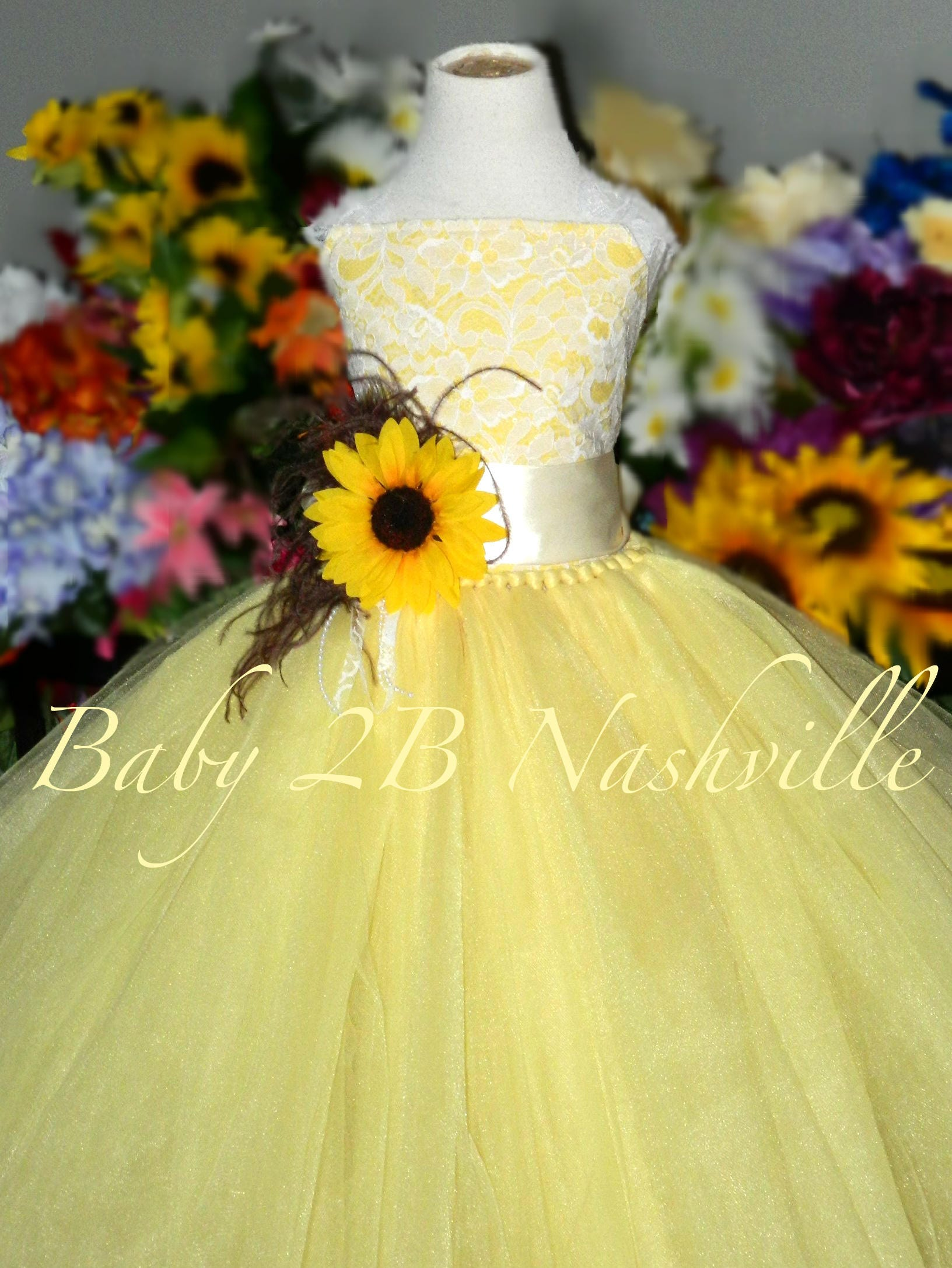 21eee5d0a554 Sunflower Dress Maize Yellow Dress Flower Girl Dress Lace | Etsy