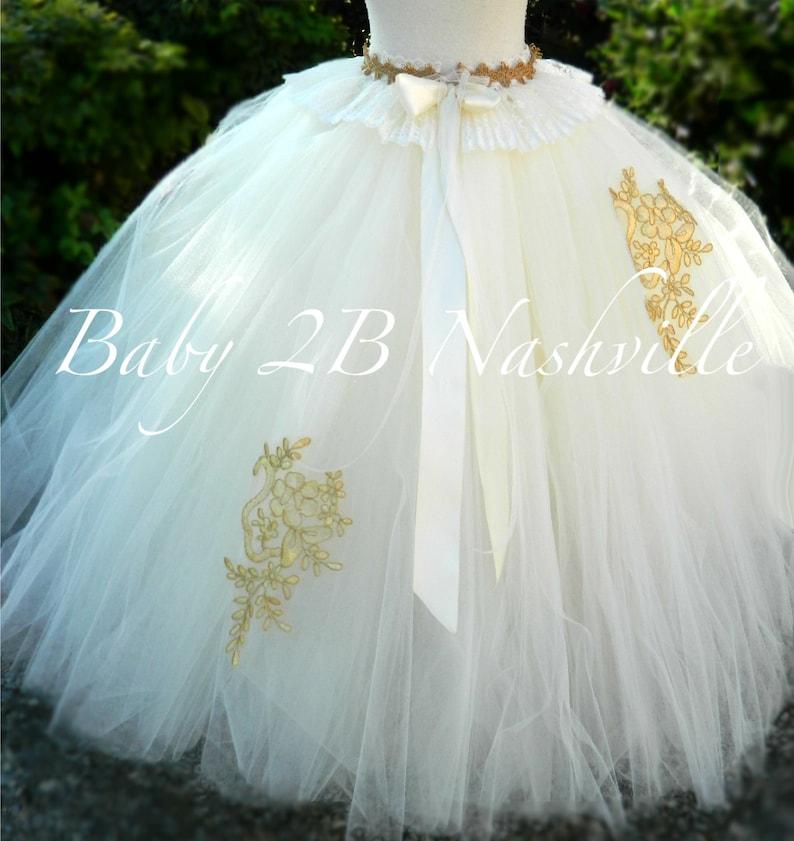 Gold Wedding Dress Tutu Skirt Women/'s Full Length Tulle Skirt Formal Dress Bridal Gowns and Separates Ivory and Gold Bridal Tutu Skirt