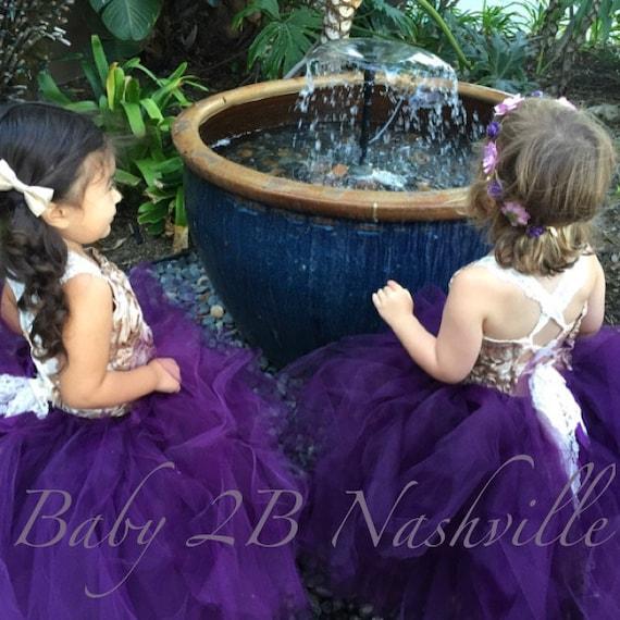 Plum Dress  Tulle Dress Tutu Dress Vintage Dress Gold Dress Flower Girl Dress Wedding Dress Baby Dress Toddler Tutu Dress Girls Dress
