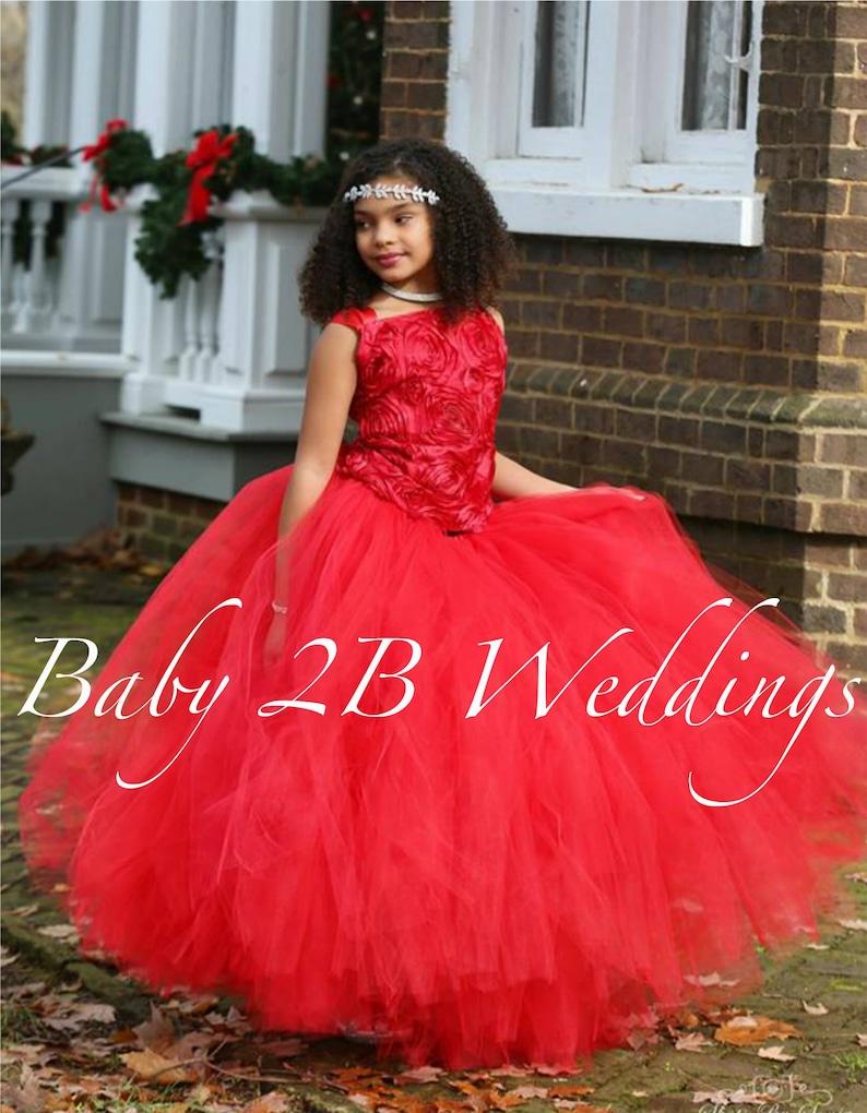 01e1c2f99c8a5 Robe rouge fille de fleur robe Tulle robe mariage robe Tutu