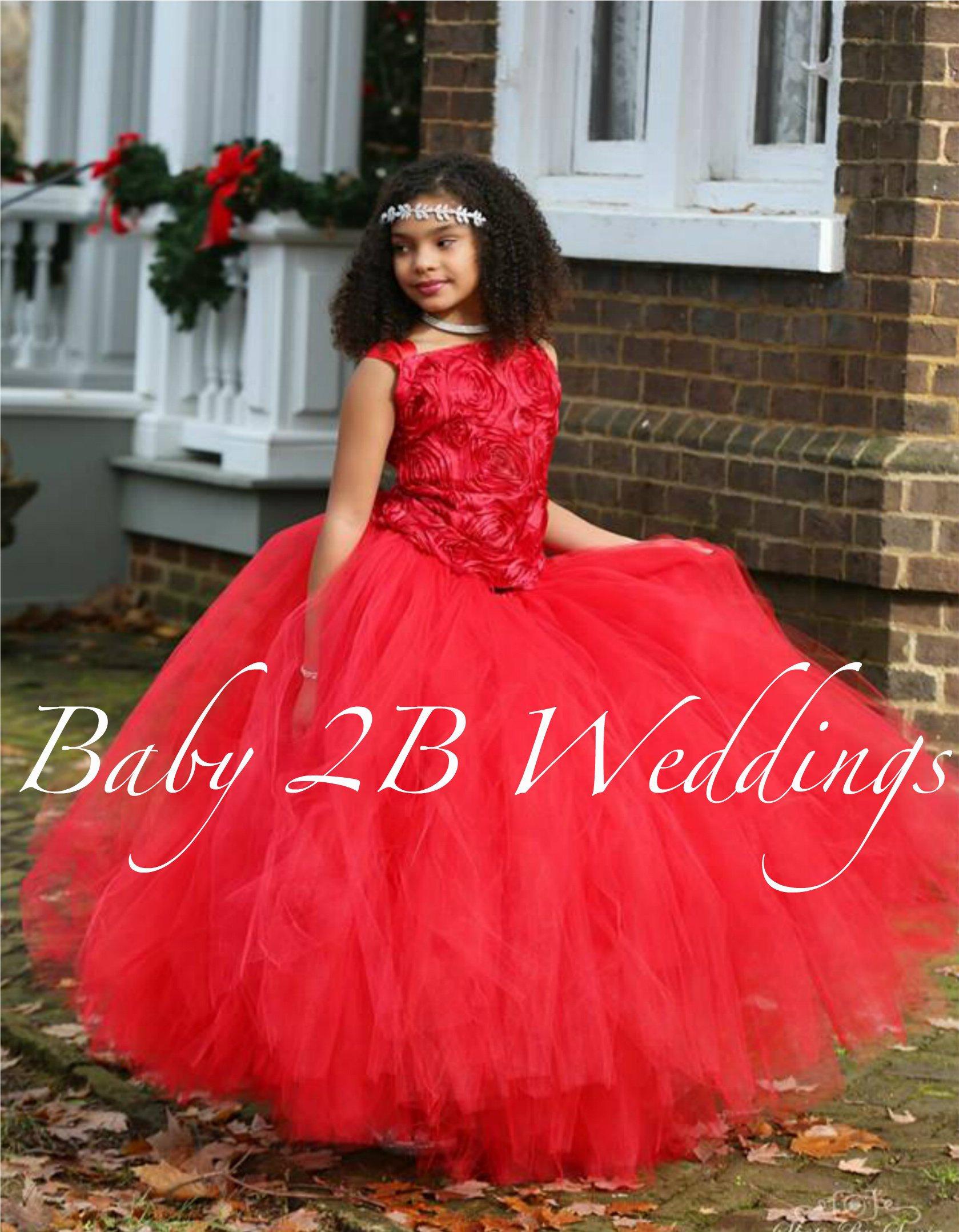 56c30792a00 Red Dress Flower Girl Dress Tulle Dress Wedding Dress Tutu Dress ...