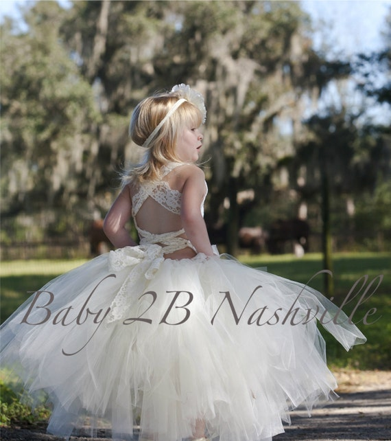 Vintage Dress Ivory Dress  Lace Dress Wedding Dress Flower Girl Dress Ivory Dress Tutu Dress Baby Dress Toddler Dress Girls Tulle Dress