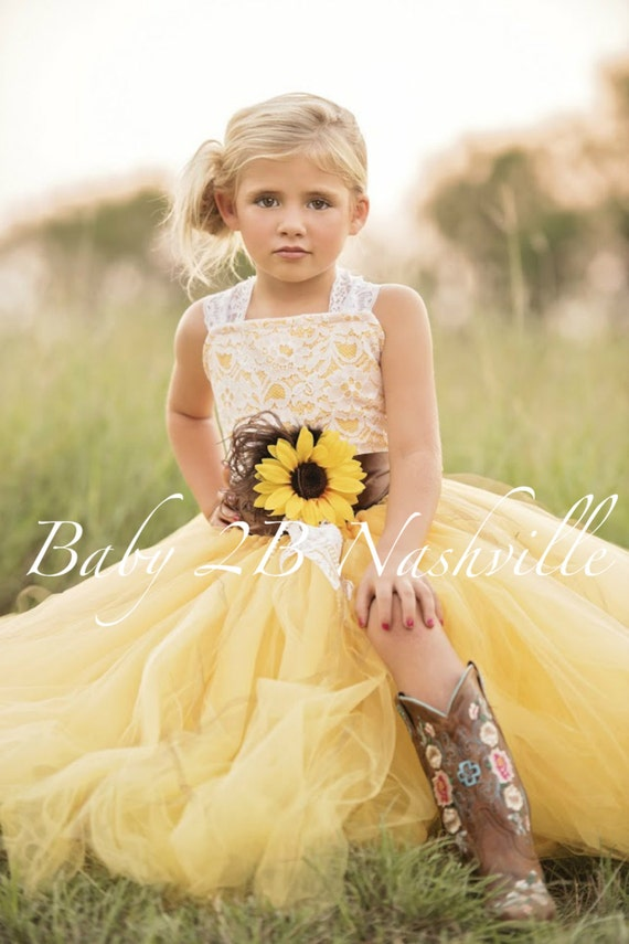 5532da9acca Yellow Sunflower Dress Yellow Dress Lace Dress Tulle dress