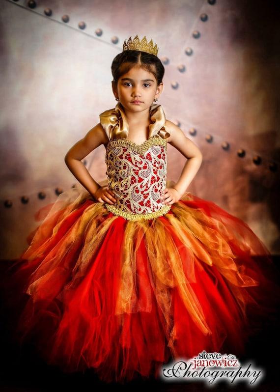 Red Dress Gold Dress Wedding Dress Flower Girl Dress  Princess Dress  Party Dress Birthday Dress Toddler Tutu Dress Girls Dress Lace Dress