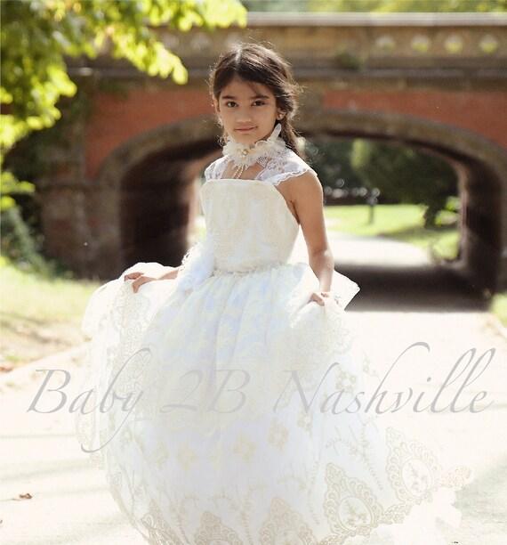 Flower Girl Dress Ivory Tutu Dress Vintage Dress White Lace Dress White Dress Tulle Dress Birthday Dress Toddler Tutu Dress Girls Dress