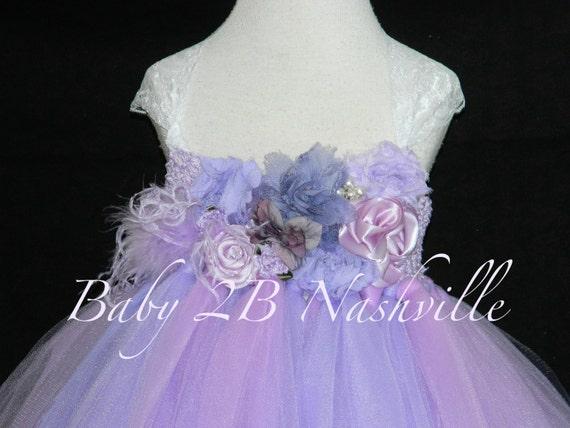 Flower Girl Tutu Dress Floral Lavender Dress and Lilac Dress Wedding Dress Baby Dress Toddler Dress Vintage Dress Tutu Dress Tulle Dress