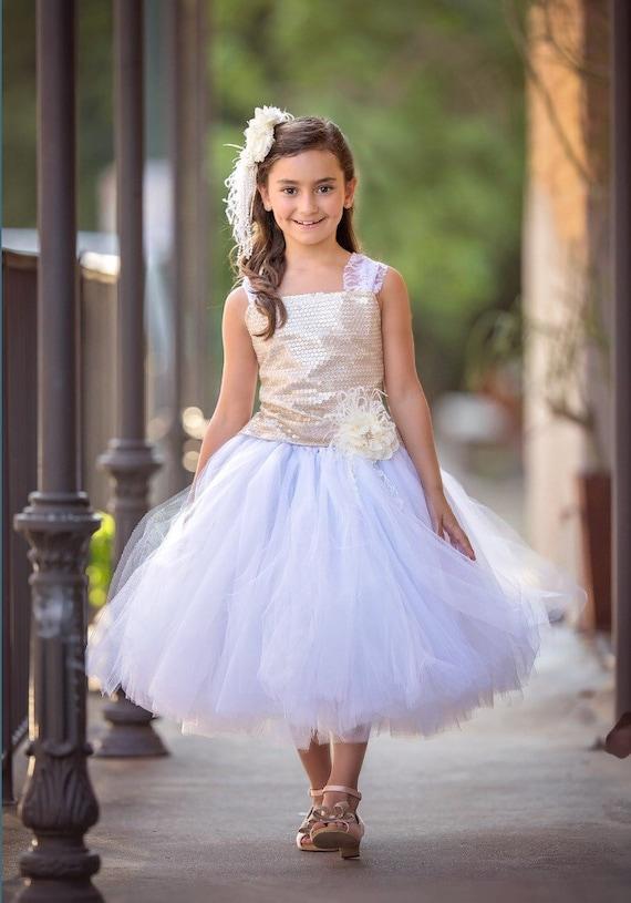 Gold Dress White Dress Flower Girl Dress Sequin Dress Tulle Dress Wedding Dress Birthday Dress Toddler Tutu Dress Girls Dress