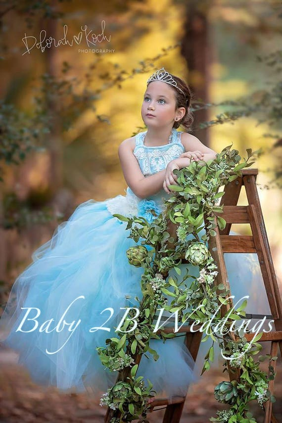 Blue Dress Ivory Lace Dress Cameo Lace Aqua Blue Dress Toddler Tutu Dress Girls Tulle Dress Wedding Dress Blue Party Dress Birthday Dress