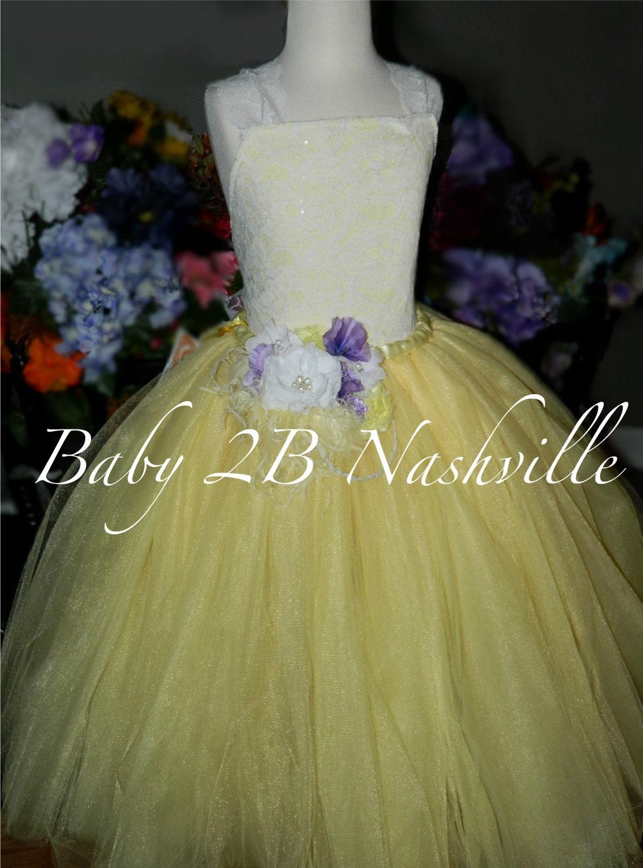 Yellow Dress Spring Dress Lace Dress Lemon Yellow Flower Girl Dress