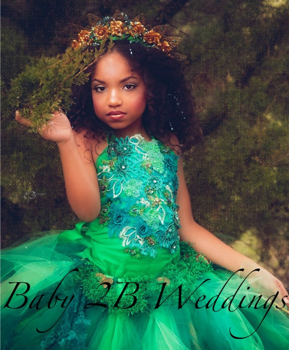 Emerald Dress Woodland Fairy Dress Wedding Dress Flower Girl Dress Party Dress Birthday Dress Toddler Green Tutu Dress Girl Dress