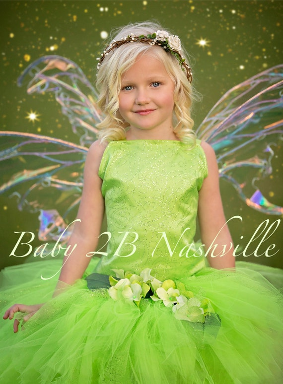 Tinkerbell Inspired Costume Dress Halloween Green Fairy Costume Dress  Costume Birthday Dress Tinkerbell Toddler Tutu Costume Girl Costume