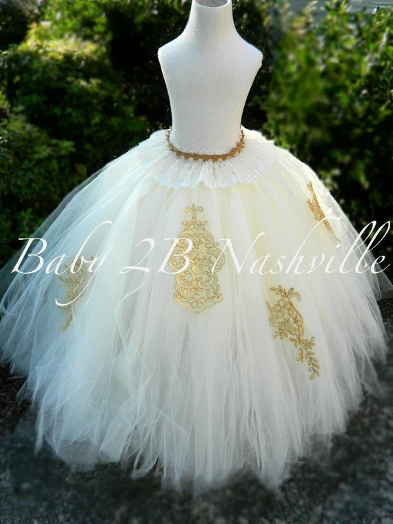 Gold Wedding Dress Tutu Skirt Women's Full Length Tulle Skirt Formal Dress Bridal Gowns and Separates Ivory and Gold Bridal Tutu Skirt