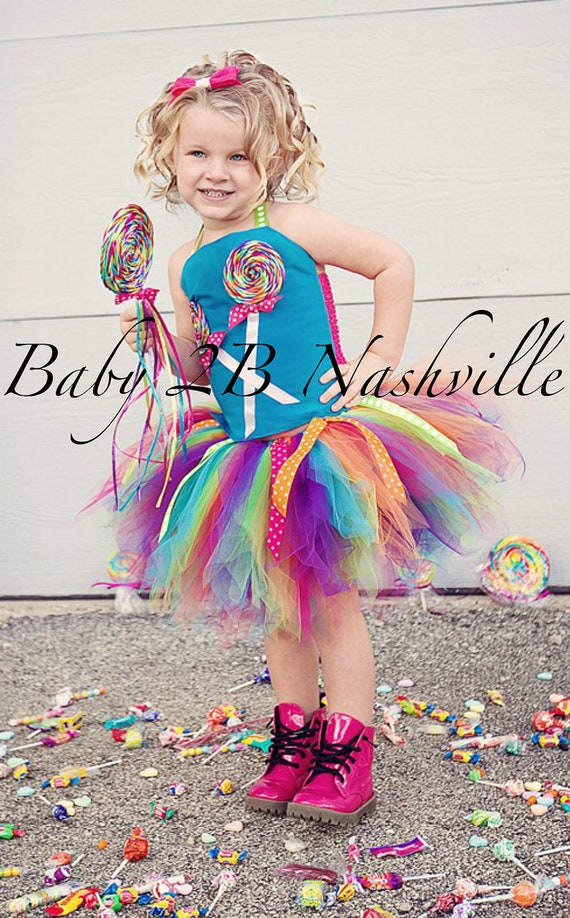 Girls Candyland Outfit Lollipop Birthday Candyland Tutu Costume Dress Baby - Girls 8