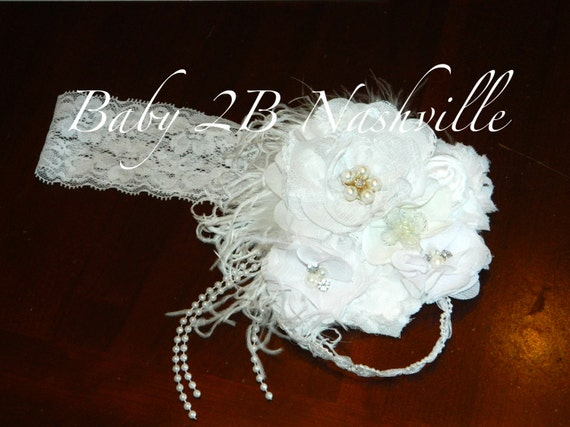 White Pearls and Lace Floral clip or headband  to match your dress