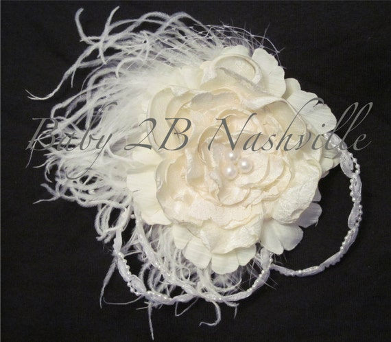 Wedding Hairpiece ,Wedding Fascinator, Handmade  Cabbage Rose, Feather Fascinator, Ivory and White Bridal Flower