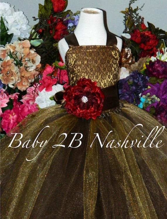 Brown Lace Dress Flower Girl Dress  Dark Gold Satin Dress Rustic Wedding Dress Party Dress Birthday Dress Toddler Tutu Dress Girls Dress