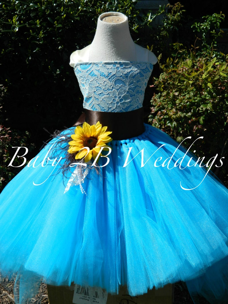 cd6a042800e5d Turquoise Dress Sunflower Dress Flower Girl Dress Teal Dress Hi Lo Dress  Tulle Dress Birthday Dress Toddler Tutu Dress Blue Girls Dress