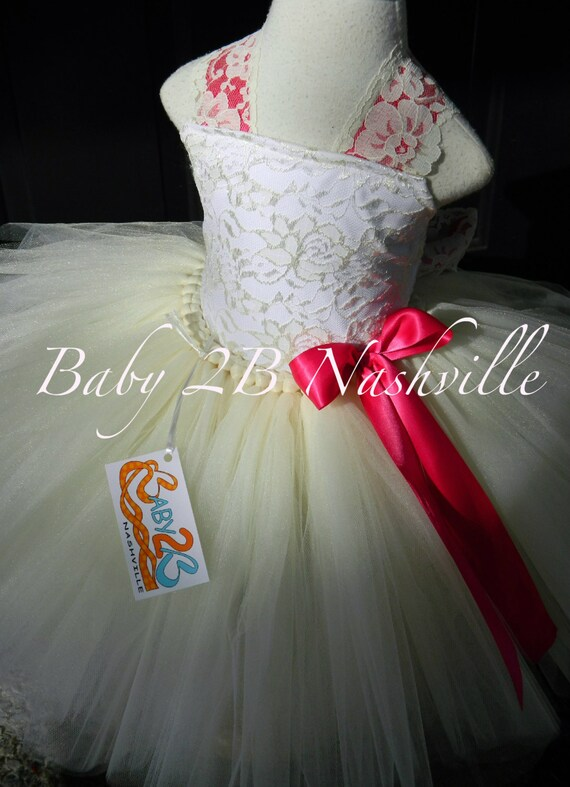 Vintage Ivory Lace Flower Girl Dress, Wedding Flower Girl  Dress Fuchsia Accent  Lace Tutu Dress Flower Girl Tutu Dress All Sizes Girls