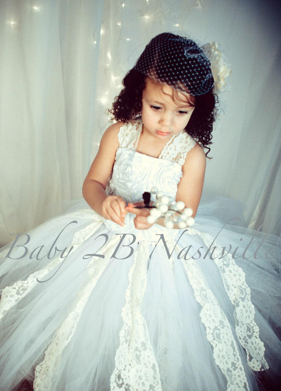 3c52f08a4bc42 Wedding Flower Girl Dress White Flower Girl Dress, Ivory Lace Tutu ...