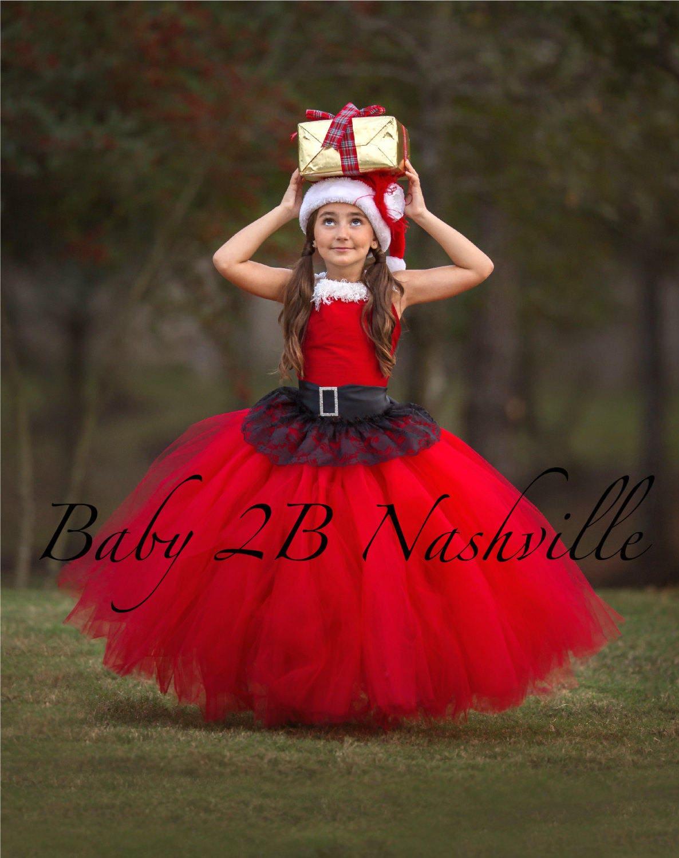 red santa dress red christmas dress flower girl dress red dress tulle dress wedding dress red birthday dress red toddler dress red dress - Girls Red Christmas Dress