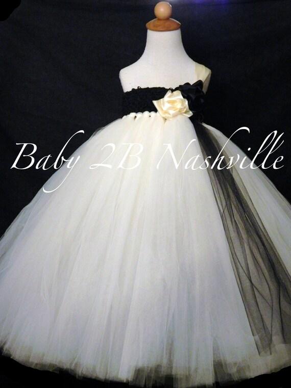 Flower Girl Dress Tulle Dress Tutu Dress Ivory Dress Baby Dress Toddler Dress Wedding Dress Black Dress Party Dress Baby Girl Dress