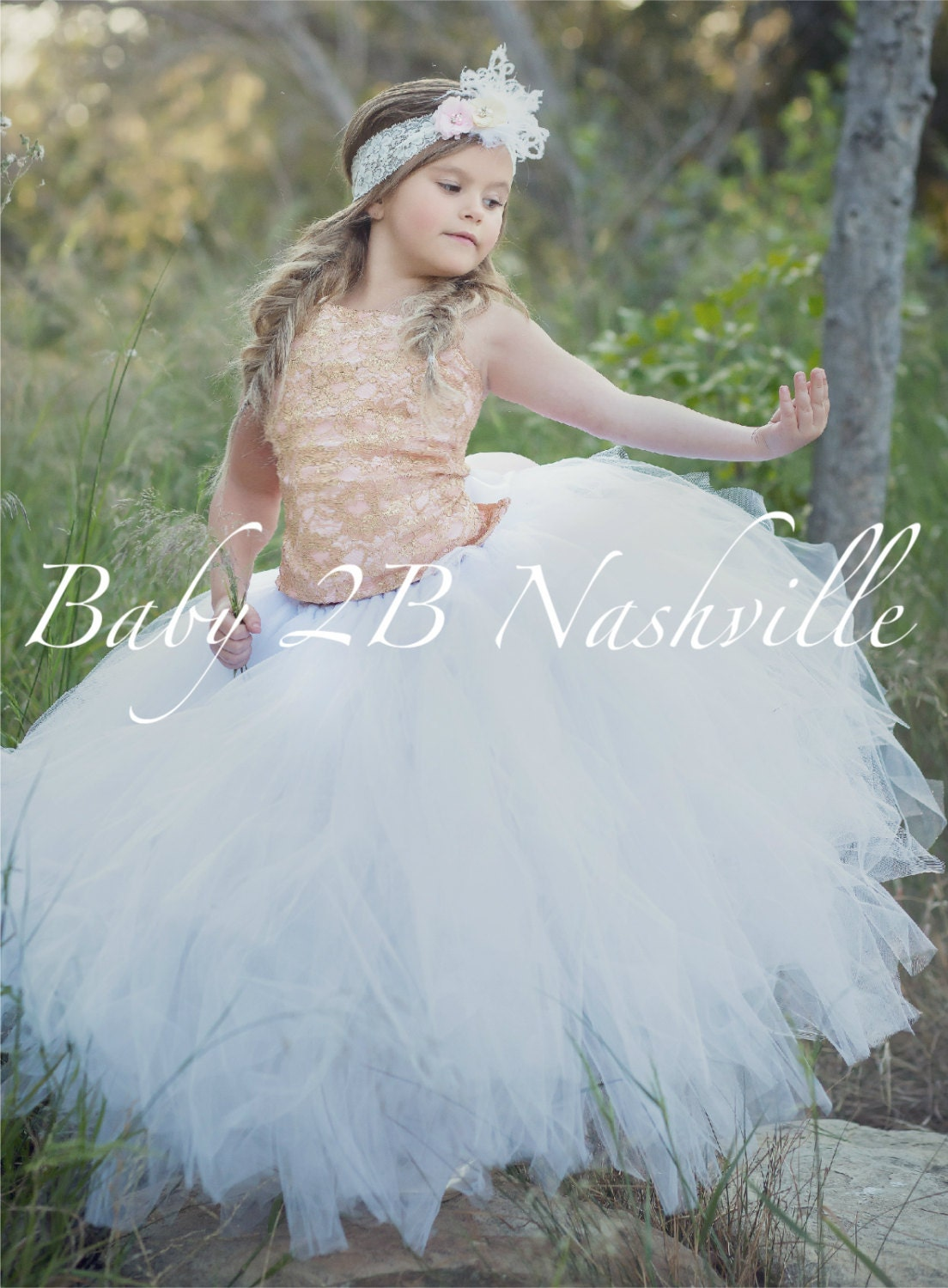 Rose Gold Dress Lace Dress Flower Girl Dress Tulle Dress Wedding ...