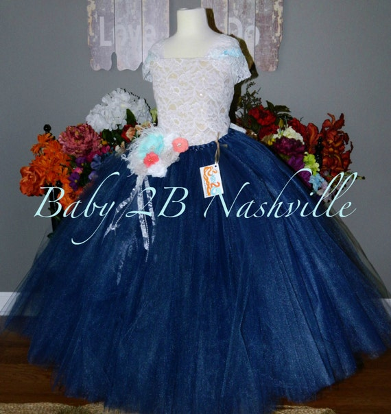 Sequin Lace Flower Girl Dress White and Navy lace dress Couture Tulle Dress All Sizes Girls