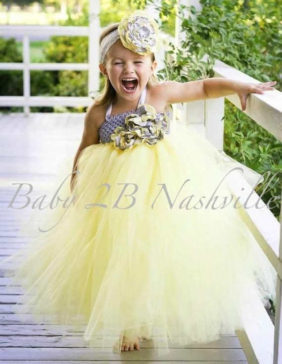 Yellow Dress Flower Girl Dress Silver Dress Tulle Dress Tutu Dress Baby Dress Toddler Dress Girls Dress Wedding Dress Party Dress Birthday