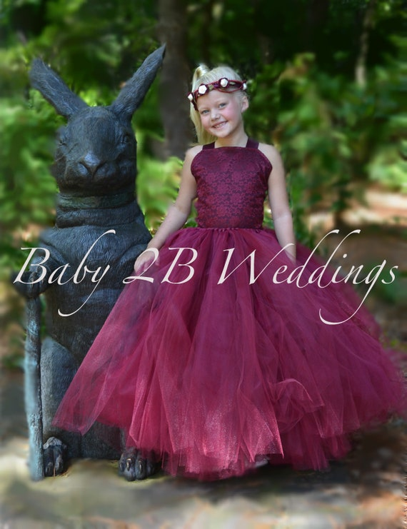 Wine Burgundy Flower Girl Dresses