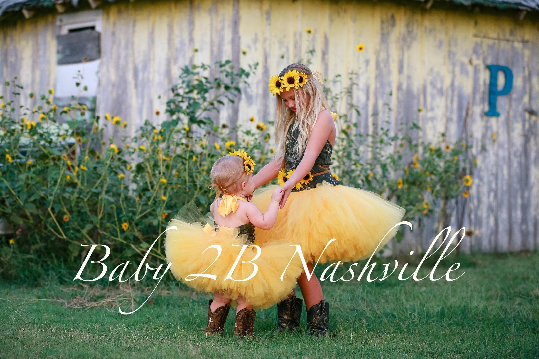b789fc7edd6c4 Camo Dress Yellow Sunflower Dress Flower Girl Dress Wedding Dress ...
