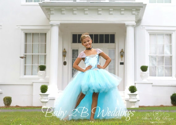 Hi Lo Princess Dress Satin Dress Flower Girl Dress Blue Dress Tulle Dress Birthday Dress Toddler Tutu Dress Blue hi lo Girls Dress