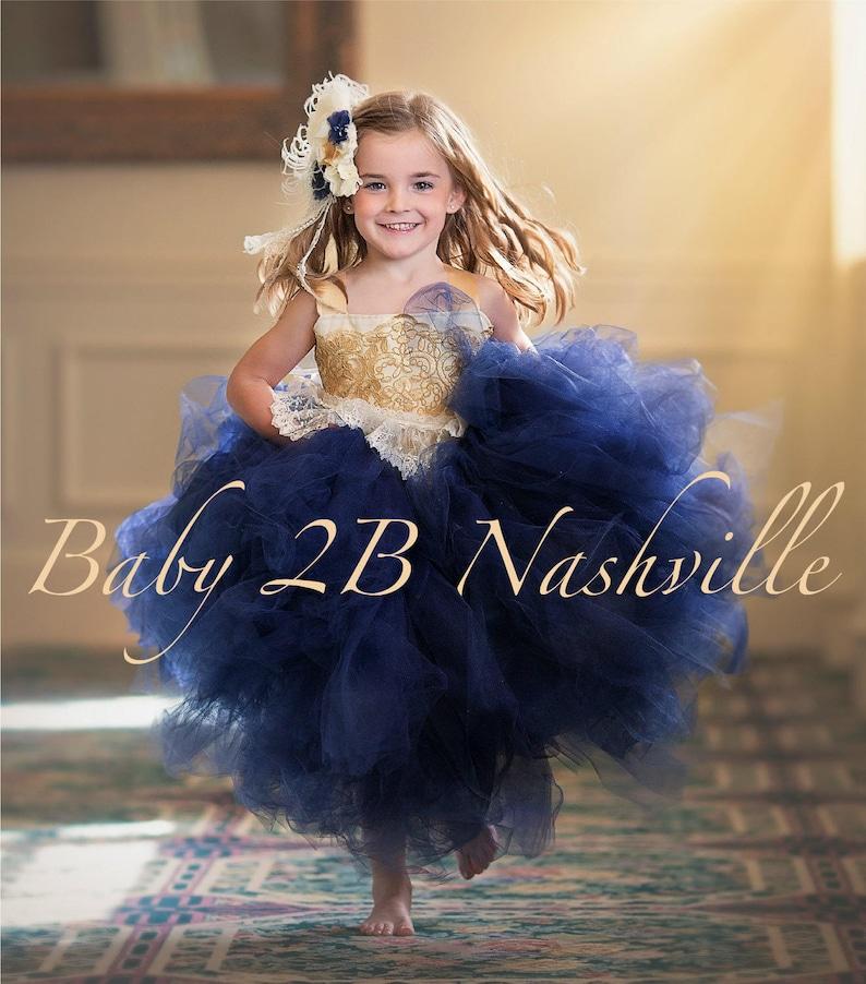 3af00a8b4a9e Navy Dress Flower Girl Dress Gold Dress Tulle Dress Lace Dress