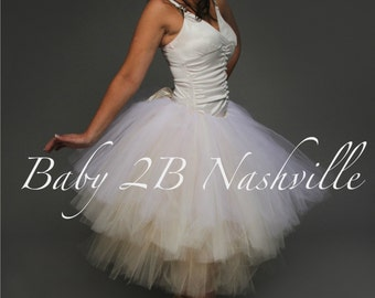Wedding Tutu Skirt in Blended Champagne Adult Tutu in Ivory and Cream Ombre