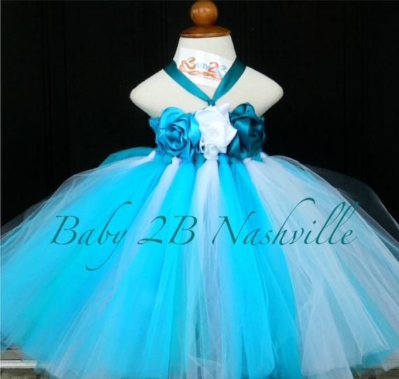 Beach Dress Turquoise Dress Wedding Dress Flower Girl Dress Baby Tutu Dress Toddler Tulle Dress Teal Dress  Party Dress Birthday Dress