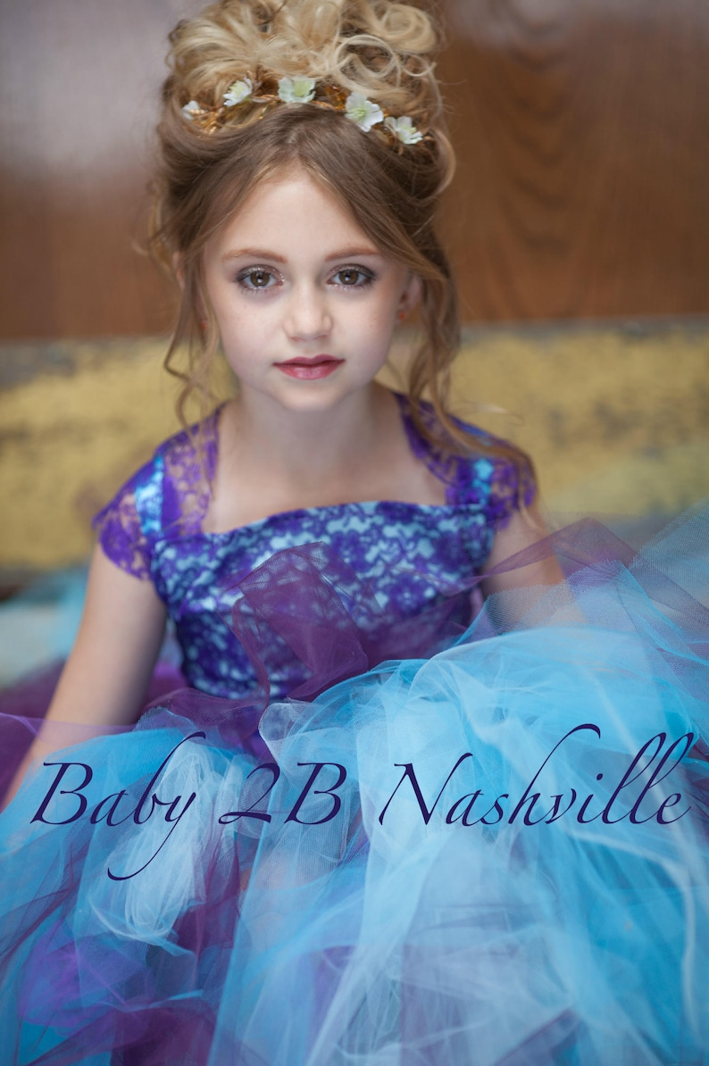b6ef17bc690 Flower Girl Dress Aqua Dress Plum Dress Purple Lace Dress