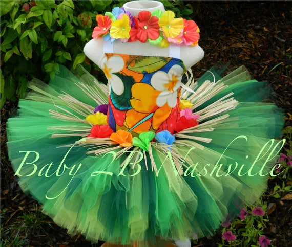 Deluxe Hula Costume Hawaiian Costume Baby Costume Baby HawaiianTutu Set  Toddler Hawaiian Tutu All Sizes Baby - 8