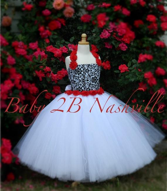 Damask  Flower Girl Dress, Wedding Flower Girl  Dress, Black  Dress,Wedding Flower Girl Tutu Dress Baby to Girls 9-10
