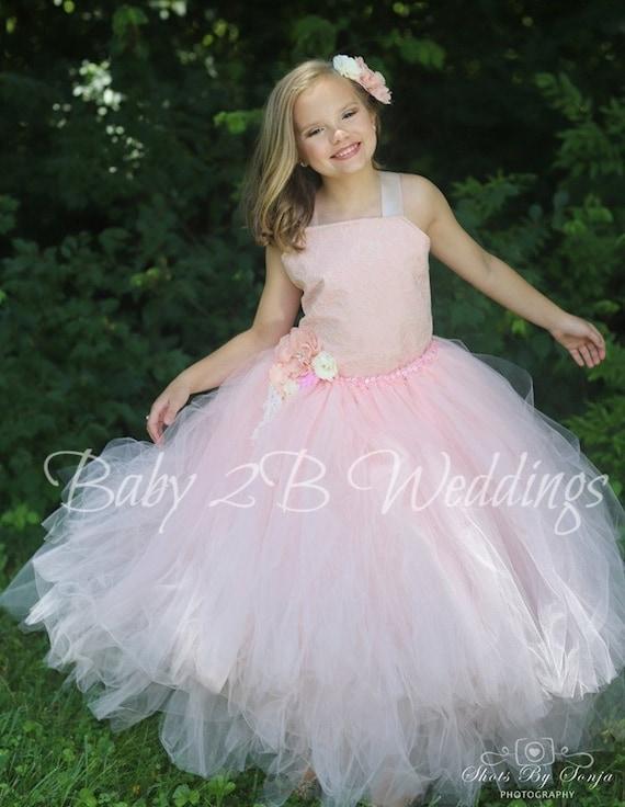 Pink Blush Dress Wedding Dress Lace Dress Flower Girl Dress  Champagne Lace with Blush Underlay Dress Girls Tulle Dress Toddler Tutu Dress