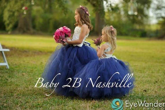Navy Dress Flower Girl Tutu Dress Tulle Dress Wedding Dress Tutu Dress Party Dress Baby Dress Toddler Tutu Dress Girls Tulle Dress