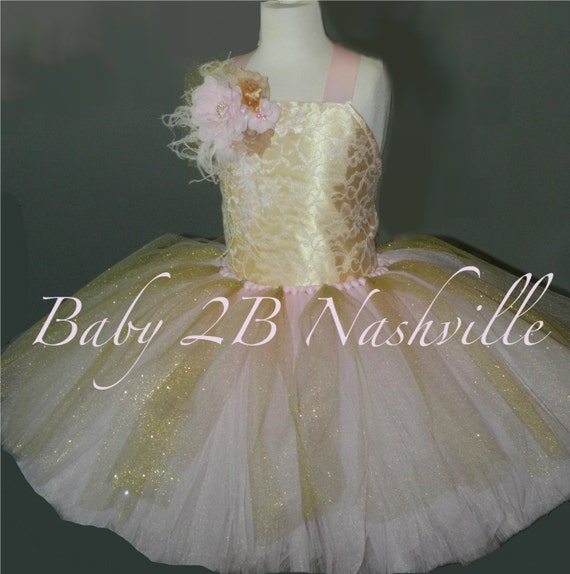 Pink and Gold Flower Girl Dress, Pink and Gold Party Dress Wedding Flower Girl  Dress,  All Sizes Girls