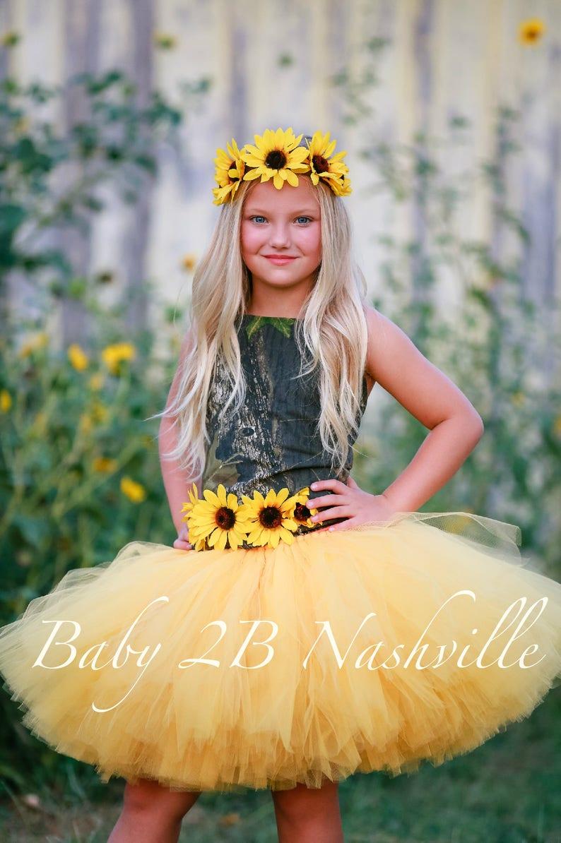 4c380af3c35fd Camo Dress Yellow Sunflower Dress Flower Girl Dress Wedding | Etsy