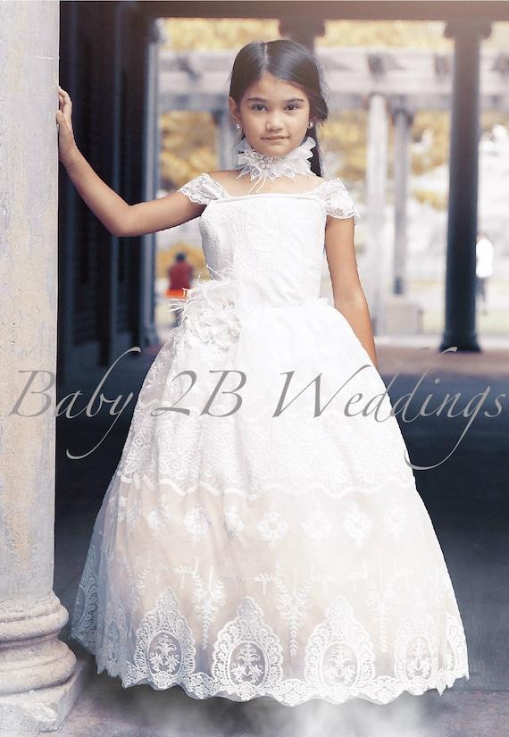Flower Girl Lace Dress Ivory Lace Dress White Dress Tulle Dress Party Dress Birthday Dress Toddler Tutu Dress Girls Dress