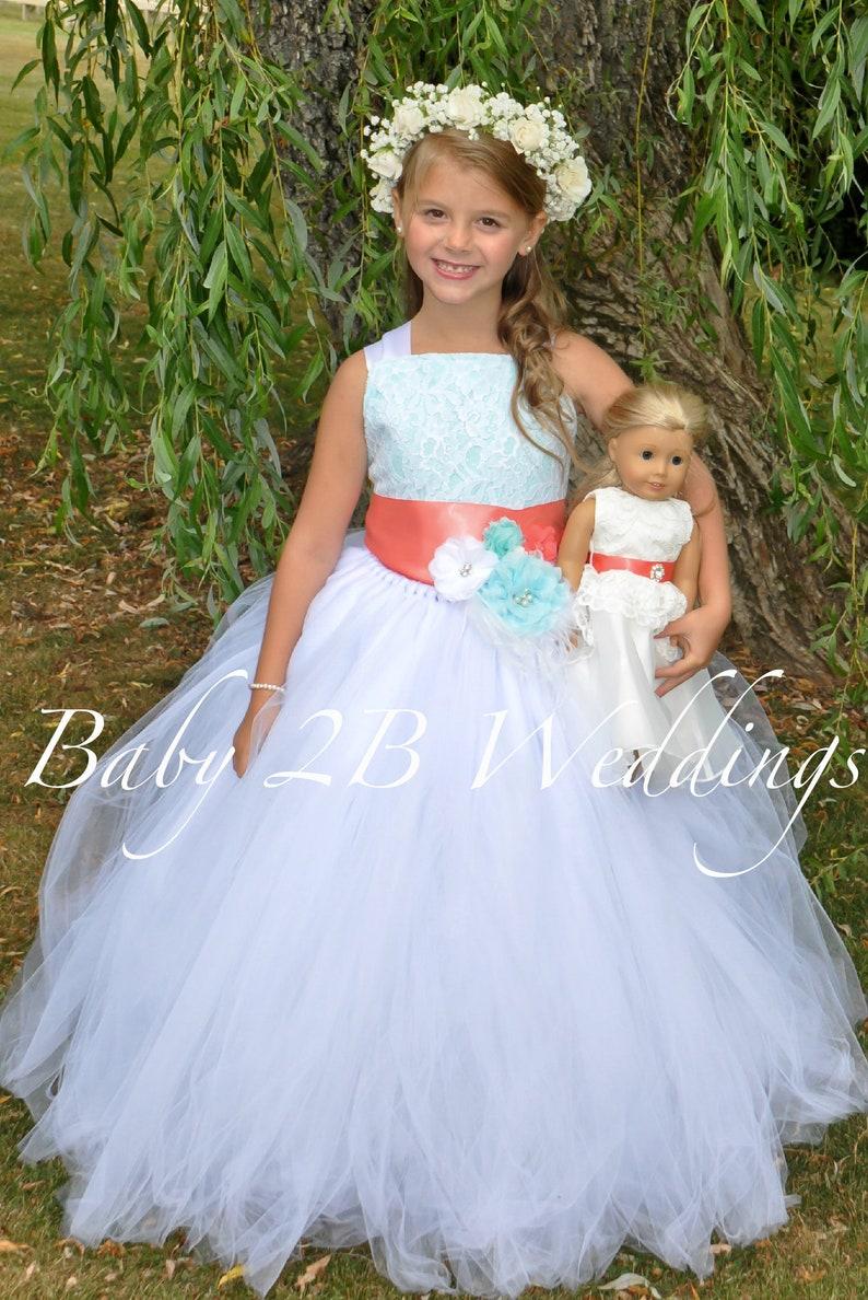 93976293dc7 Aqua Flower Girl Dress with Coral Sash White Dress Lace Dress