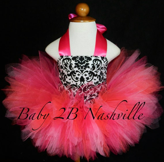 Black and Hot PInks Damask Birthday Tutu Dress Baby to 2T