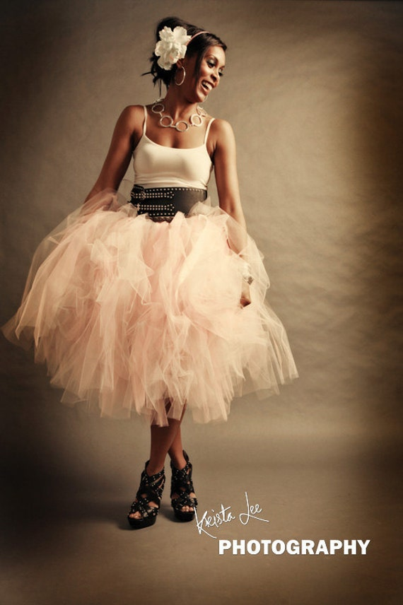 Womens Tulle Skirt Adult Tutu Pink Tulle Skirt Shabby Chic Pink Cocktail Length Skirt