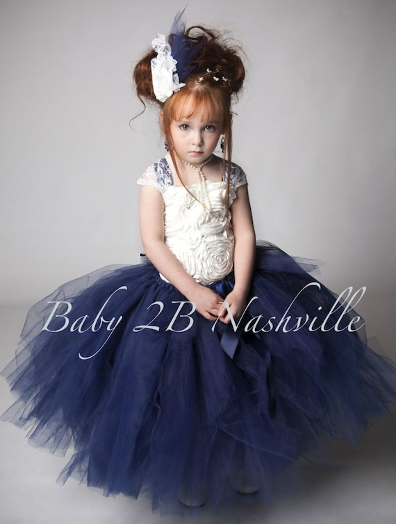 Vestido fiesta nina azul marino