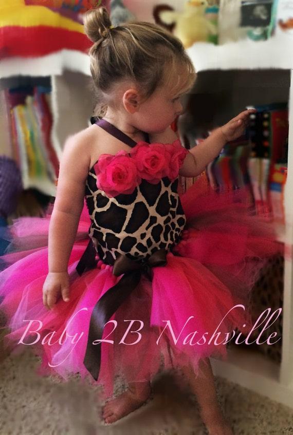 Hot Pink GiraffeTutu Costume Birthday Dress Baby -Toddler 2T